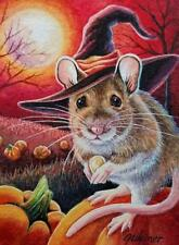ACEO Limited Edition Print Halloween Mouse Witch Pumpkins Seed Art by J. Weiner