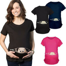 Funny Baby Cartoon Print Pregnant Women Cotton O-Neck Maternity T-Shirts Tops