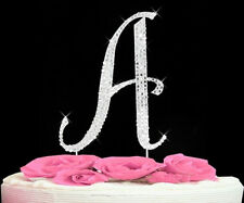 "Large Rhinestone Crystal Monogram Letter ""A""  Wedding Cake Topper  5"" inch high"