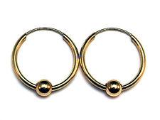 Nuevas SEÑORAS DE 9 QUILATES 9carat Amarillo Aro De Oro Sleeper pendientes 20mm & 5mm Bead Hallmark