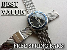 22MM RETRO MESH BRACELET DIVERS WATCH STRAP SEAMASTER SUBMARINER PLANET OCEAN