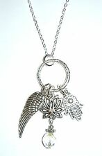 "GOOD KARMA - 18"" necklace with lotus flower, hamsa hand and angel wing charms"