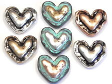 7 - 2 HOLE SLIDER BEADS HAMMERED LOOK RUSTIC SILVER BRASS & COPPER PATINA HEARTS