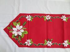 Christmas Buffet Table Runner 14x68 Poinsettia Red Green White Festive Holidays