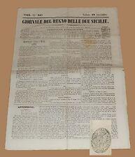 Giornale del Regno delle Due Sicilie 12 Novembre 1842 Napoli Impero Austriaco