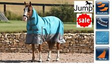 WATERPROOF TURNOUT HORSE RUG JUMP 100g Fill Combo Neck Light Medium Weight Teal