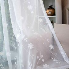Embroidered Voile Curtains Window Sheer Blinds Treatments Tulle Floral Decor New