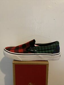 VANS Classic Slip On Buffalo Mix Plaid Multi/Red Green Black Size 6men's 7.5wome