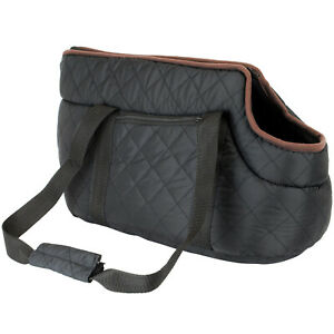 Quilted Pet Carrier Small Dog Puppy Black Handbag Cat Carry Padded Travel Bag