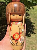 Japanese Vintage Kokeshi Wood Doll Hand Carved and Painted Floral Design Geisha