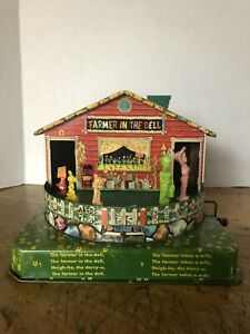 """Vtg 1950's Tin Litho Mattel """"Farmer In The Dell"""" Wind Up Toy"""
