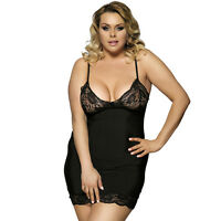 Sexy Women's Plus Size Black Lace Babydoll Lingerie G-String Set Nightwear dress