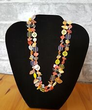 button and shell necklace orange and yellow  handmade