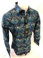 Mens MANZINI Button Down Dress Shirt TEAL BLUE SLIM FIT PAISLEY FRENCH CUFF 282