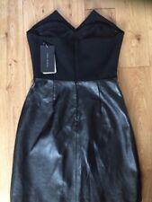 Vestido con piezas de cuero de mujer Zara/Trasera Negro Talla S Nuevo con Etiquetas Rrp £ 79.99
