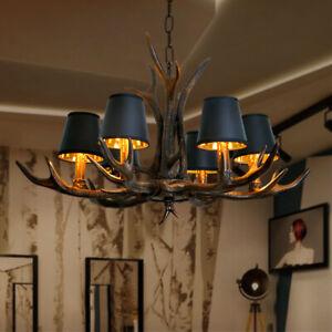Industrial 4/6 Lights Black Resin Antler Horn Fabric Shade Pendant Chandeliers