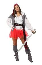 ADULT LADIES PIRATE COSTUME WITH RED TUTU SKIRT FANCY DRESS