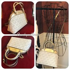 NWT MICHAEL KORS SIGNATURE EMMY SMALL DOME SATCHEL BAG IN VANILLA/PGOLD (SALE!!)