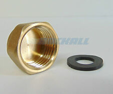 "BRASS 1/2"" 19MM FEMALE BLANKING STOP END CAP AND RUBBER 1/2"" WASHER"