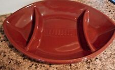 "New Hard Plastic Large Divided Serving Platte 17 X 11.5"" X 2 Football Shaped"