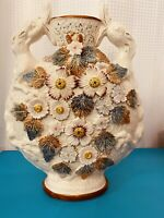 Antique English Majolica Lizard Handle Moon Flask Vase.