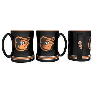 Baltimore Orioles Coffee Mug Relief Sculpted Team Color Logo - 14 oz Black