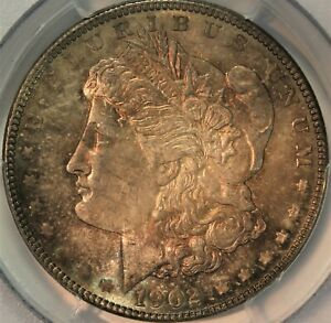1902-P Morgan Silver Dollar. PCGS MS64. Dramatic Original Toning. Choice.