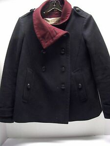 Burberry Brit 80% wool 20 % polyamide Pleated Double breasted Pea Coat Size 4 US