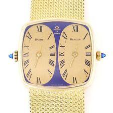 18k Baume & Mercier Dual Time Solid Gold Mesh Bracelet Men's Watch Ref. 32000