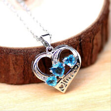 925 Sterling Silver Plating New Fashion Women Crystal Pendant Jewelry Chain