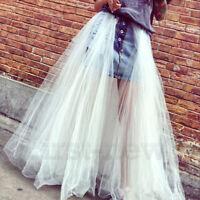 Womens Lace Ruffles Denim Jean Skirts Fishtail Princess Tulle Reversible Skirt