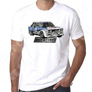 Fiat 131 Abarth Super Mirafiori TwinCam rally retro  Mens Tshirt