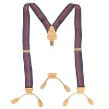 Trafaglar Mens Braces Suspenders Blue Burgundy Chase Stripe Nylon Leather Button