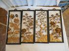 "Set of 4 vintg stamped metal brass tone 3-d framed flower wall plaques 8"" x 20"""