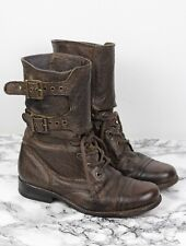 ALL SAINTS Tan Brown Leather DAMISI Military Combat Boots, Size EU 38 / UK 5