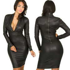 Plunging V neck Long sleeve Faux Leather Dress Winter Bodycon Dresses Clubwear