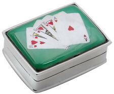 ROYAL FLUSH CARDS PICTURE PILLBOX STERLING SILVER HALLMARKED FROM ARI D NORMAN