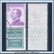 1924 Italia Regno Pubblicitari Tagliacozzo cent. 50 violetto e verde n. 17 Usato