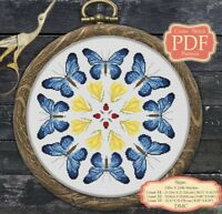 Blue Butterfly Mandala - Modern Cross stitch Embroidery - PDF Pattern - 024