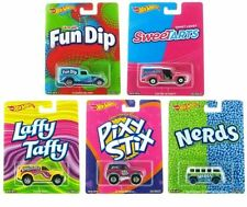 1/64 2016 Set Of 5 Hot Wheels Pop Culture Candy Fun Dip, Nerds, Laffy Taffy, Pix