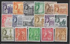 MALTA SG266/82 1956-9 DEFINITIVE SET MTD MINT