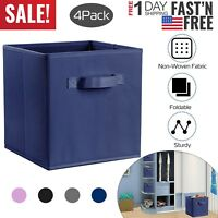 4PC Foldable Storage Cube Basket Bins Organizer Closet Container Fabric Drawers