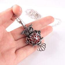 Retro Owl Locket Necklace Fragrance Perfume Essential Oil Aromatherapy Diffuser