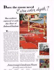 1931 Armstrong Cork Co. Linoleum Floors Need Extra Color Depth Vintage Ad