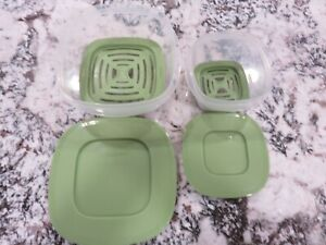 2 Rubbermaid Square Produce Savers With Fresh Vent Inserts 5 & 2 Cups EUC