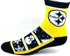 Pittsburgh Steelers Football Christmas Snowmen Snowflakes Quarter NonSkid Socks