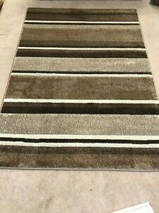 Cameo carved stripe natural beige brown modern soft short shag pile rug large