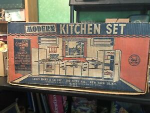 1950s Louis Marx Modern Kitchen Play Set In Original Box Tin Toy Incomplete Nice