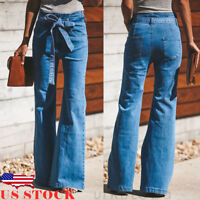 US Women Skinny Flare Denim Jeans Bell Bottom Stretch High Waist Pants Trousers