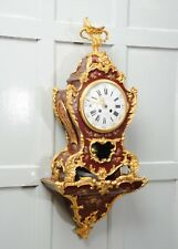 ANTIQUE FRENCH BRACKET CLOCK RED LACQUER VERNIS MARTIN ORMOLU WITH BRACKET SUPER